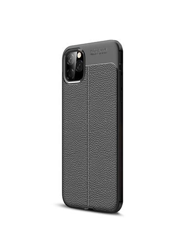 Microsonic Apple iPhone 11 (6.1'') Kılıf Deri Dokulu Silikon Siyah Siyah